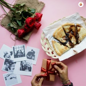 Melting Choco Cheese Panties Pizza With Small Brown Box With Red Rose Melting of Choco Cheese