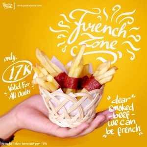 French Zone French Friesh Dengan Balutan Danging Sapi Asap Spaghecheese and French Zone Only at Panties Pizza
