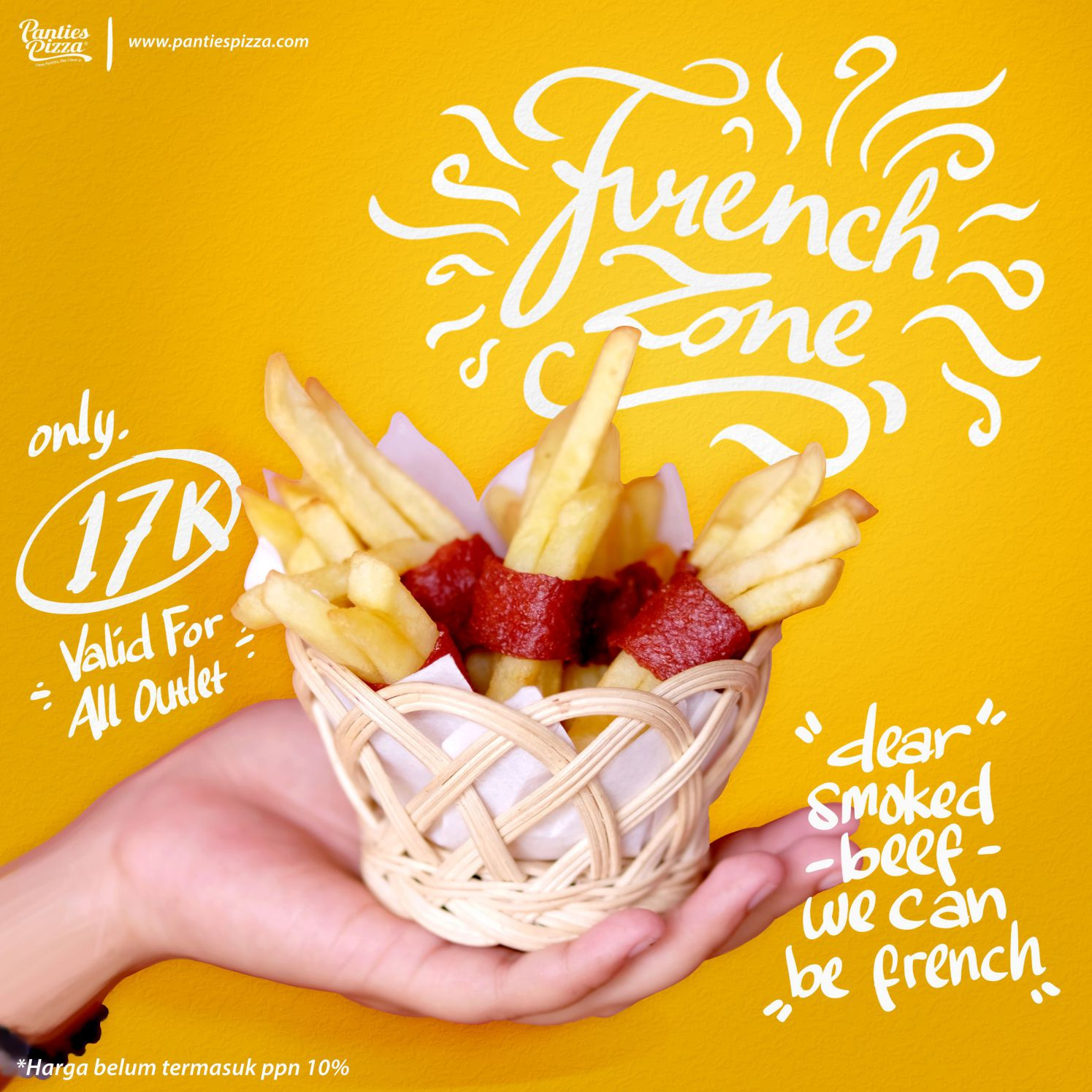 French Zone French Friesh Dengan Balutan Danging Sapi Asap Spaghecheese and French Zone Only at Panties Pizza Mobile Single Slide