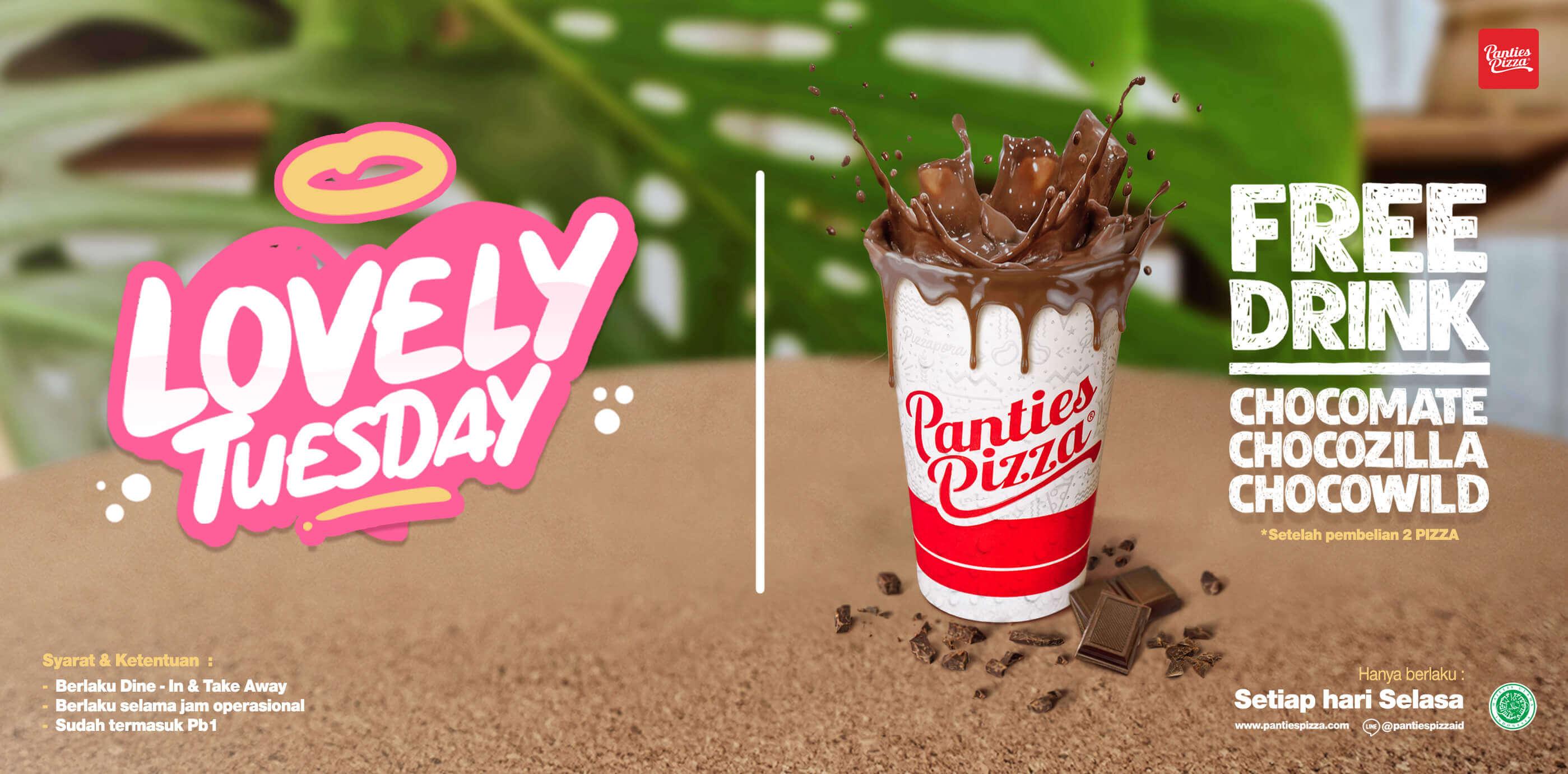 Panties Pizza Promo Bulan Februari 2021 Gratis Minum Chocomate Chocozilla Chocowild Gratis Minum! Setiap Hari Selasa